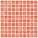 100 sushi bar icons set grunge orange. 100 sushi bar icons set in grunge style orange color isolated on white background vector illustration Royalty Free Stock Image