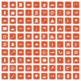 100 sushi bar icons set grunge orange. 100 sushi bar icons set in grunge style orange color isolated on white background vector illustration Royalty Free Illustration