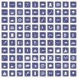 100 sushi bar icons set grunge sapphire. 100 sushi bar icons set in grunge style sapphire color isolated on white background vector illustration Stock Illustration