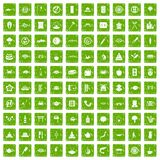 100 sushi bar icons set grunge green. 100 sushi bar icons set in grunge style green color isolated on white background vector illustration Royalty Free Stock Image