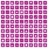 100 sushi bar icons set grunge pink. 100 sushi bar icons set in grunge style pink color isolated on white background vector illustration Stock Illustration