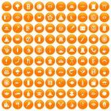 100 sushi bar icons set orange. 100 sushi bar icons set in orange circle isolated vector illustration Stock Illustration