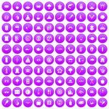 100 sushi bar icons set purple. 100 sushi bar icons set in purple circle isolated vector illustration Stock Illustration
