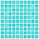 100 Sushi-Bar-Ikonen stellten Grunge blau ein vektor abbildung
