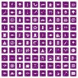 100 Sushi-Bar-Ikonen stellten Grunge purpurrot ein lizenzfreie abbildung