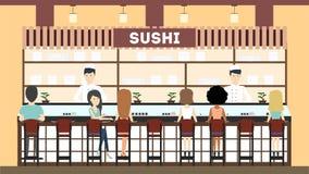 Sushi bar interior. royalty free illustration