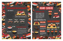 Vector menu for Japanese sushi food bar restaurant. Sushi bar or Japanese Asian cuisine food bar menu template. Vector design of sashimi and sushi rolls and Stock Photos
