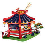 Sushi bar. Japanese cuisine in cartoon style. Vector illustration Royalty Free Stock Image