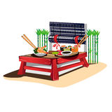 Sushi bar. Japanese cuisine in cartoon style. Vector illustration Stock Images