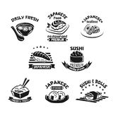 Vector template icons for sushi seafood restaurant. Sushi bar or Japanese seafood restaurant templates. Sushi rolls and sashimi salmon, miso or noodle soup and Royalty Free Stock Photos