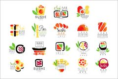 Sushi bar logo design set of colorful watercolor vector Illustrations. On a white background vector illustration
