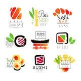 Sushi bar logo design set of colorful watercolor vector Illustrations vector illustration
