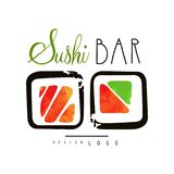 Sushi bar logo, Japanese food label, badge for sushi bar or seafood restaurant watercolor vector Illustration. Isolated on a white background Royalty Free Stock Photo
