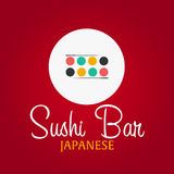 Sushi bar logo template design with chopstick. Bar, restaurant. Vector illustration. Stock Photo