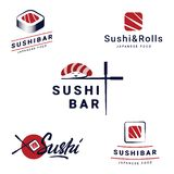 Sushi Bar Logos Templates Set Collection of vector logos for sushi. Logo design for restaurants of Japanese food vector illustration