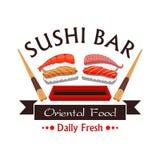 Sushi bar menu card design, vector emblem. Sushi bar emblem. Japanese oriental cuisine restaurant label design. Vector sign with salmon seafood sushi, soy sauce Stock Photo