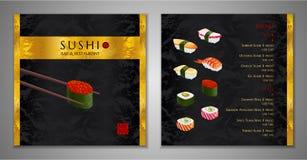 Sushi bar Menu design. Japanese restaurant Menu template stock illustration