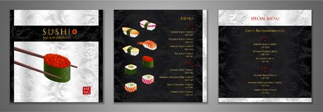 Sushi bar Menu design. Japanese restaurant Menu template vector illustration