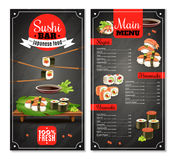 Sushi Bar Menu. With label, chopsticks, price list for nigiri, maki on black background isolated vector illustration Stock Photos