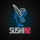 Sushi bar vector logo, icon with neon sign. Design for sushi delivery, Japan restaurant with fish in electric neon lights vector illustration