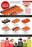 Sushi bar vector menu template of Japanese cuisine. Japanese sushi restaurant menu template with sushi set sale. Vector price design of prawn shrimps tempura vector illustration