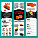 Sushi bar vector menu template of Japanese dishes. Sushi restaurant menu vector template of sushi rolls, noodle or tofu soups, prawn shrimps tempura and steamed Stock Photo