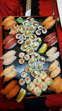 Sushi. Big plate with Sushi royalty free stock images