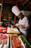 Sushi bij buffet stock foto's