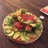 Sushi birthday cake. A cake made entirely out of sushi Royalty Free Stock Photos
