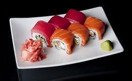 Sushi on black Royalty Free Stock Image