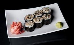 Sushi on black Royalty Free Stock Photography