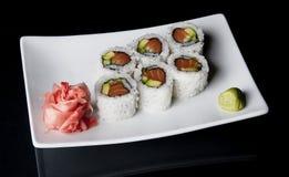 Sushi on black Royalty Free Stock Photos