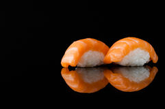 Sushi on black background royalty free stock photos