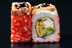 Sushi on black background Stock Photo