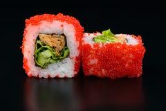 Sushi on black background Royalty Free Stock Photography