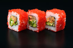 Sushi on black background Stock Photography