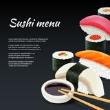 Sushi On Black Background Stock Photos