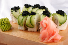 Sushi and black caviar. Sushi rolls with black caviar Royalty Free Stock Images