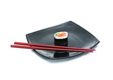 Sushi on black plate Royalty Free Stock Photos