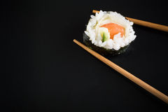 Sushi on black plate Royalty Free Stock Photography
