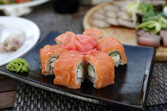 Sushi on a black plate Royalty Free Stock Photo