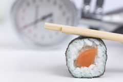 Sushi, blood pressure gauge, healthy eating Royalty Free Stock Photography