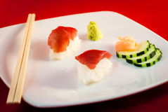 Sushi Bluefin Tuna Fish Nigiri with chopsticks Stock Image