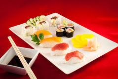 Sushi Bluefin Tuna Fish Varied with chopsticks Stock Photo