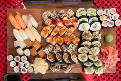 Sushi board Stock Photos