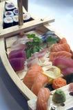 Sushi Boat -Maki, Sashimi. Japanese Food,  Large Menu of Mixed Maki, Sushi and Sashimi,PS-47844 Stock Photography
