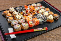 Sushi box with assorted with sushi pieces royalty free stock image