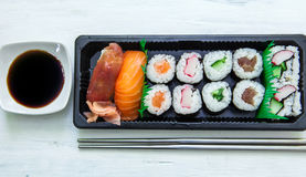 Sushi box with chopstick Stock Images