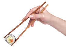 Sushi - Broodje met geïsoleerdem eetstokjes Stock Fotografie