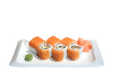 Sushi (broodjes) met zalm, paling en avocado Royalty-vrije Stock Afbeelding